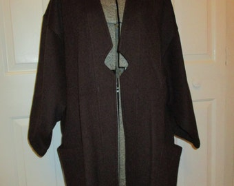 Vintage Agapi Paris brown wool blend kimono sleeve coat