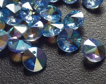 20 Vintage Swarovski Crystal Beads, 6mm Light Sapphire With Aurore Boreale Finish, Article 21/6200, 20 Vintage Blue Crystal Beads