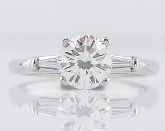 Engagement Ring Modern .98 Round Brilliant Cut Diamond in 14k White Gold