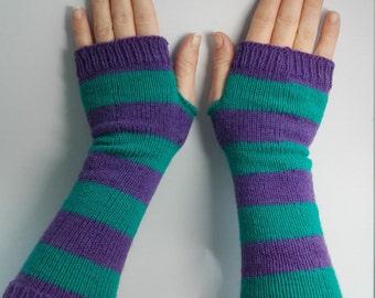 Purple stripe gloves, green stripe gloves, wristwarmers, armwarmers, fingerless glove, striped gloves, long wool gloves, stripe wristwarmers