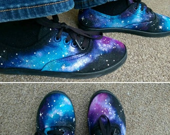 Girls hand painted galaxy shoes
