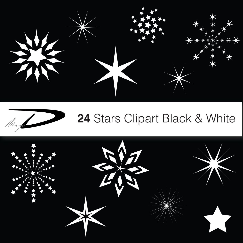 Christmas stars digital star clip art white and black
