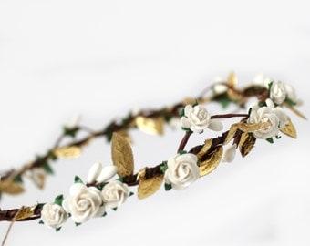 White Floral Crown, Bridal Flower Crown,  Flower girl flower crown, Gold Leaf Garland, Rose Garland