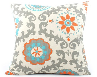 clearance turquoise orange pillow cover choose your size orange pillow turquoise blue pillows
