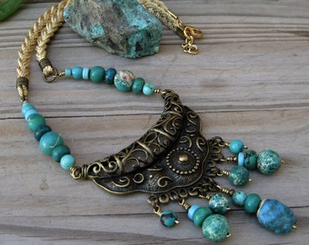 Turquoise indie necklace, Indie jewelry, Gypsy necklace, Brass necklace, Tribal necklace, Statement necklace, Ethnic bib necklace