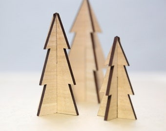 Wooden Christmas Trees  | Pack of 3 | Christmas decorations | Mantle decor