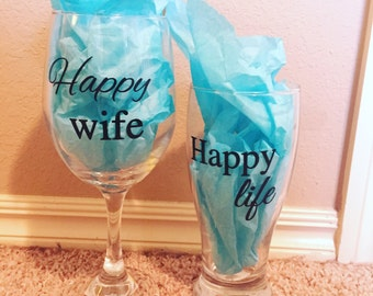 Happy wife, happy life drinking glasses