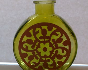 Deorative Bottle or Bud Vase - Green Glass with Copper Design