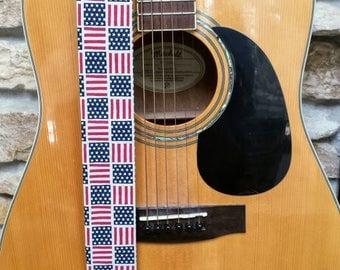 American Flag Threaded Guitar Strap; American Pride Guitar Strap; Country Guitar Straps; Stars and Stripes Guitar Strap; Guitar Straps
