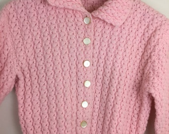 Vintage Hand Knit PINK Cardigan Sweater Girl's 10/12