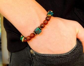 Bracelet agate stones brown / black/turquoise ethnic style