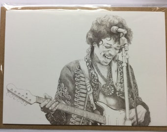 Jimi Hendrix Greeting card. Print from drawing by my husband, Carl Seager. Seager Artworks.