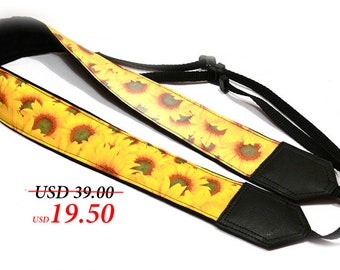 Sunflowers Camera strap with sun glint (one side is lighter).  Floral Camera Strap. Camera accessories. Durable, padded photo camera strap