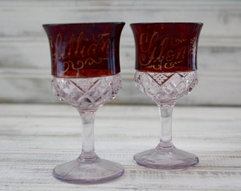 Duncan Miller Ruby Red Flash Glass Souvenir Wine Cordials - Set of 2
