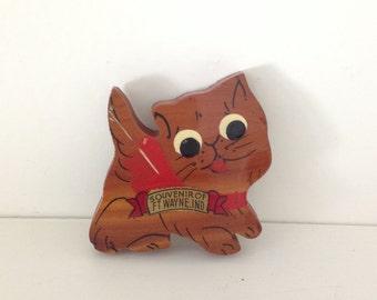 Souvenir cat pin Fort Wayne Indiana