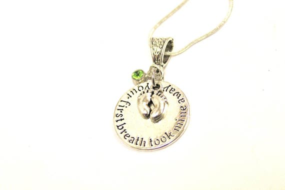 Mother's Birthstone Pendant on Silver Chain, Your First Breath Took Mine Away, Birthstone Jewelry Gift For Her, Mother's Day Gift