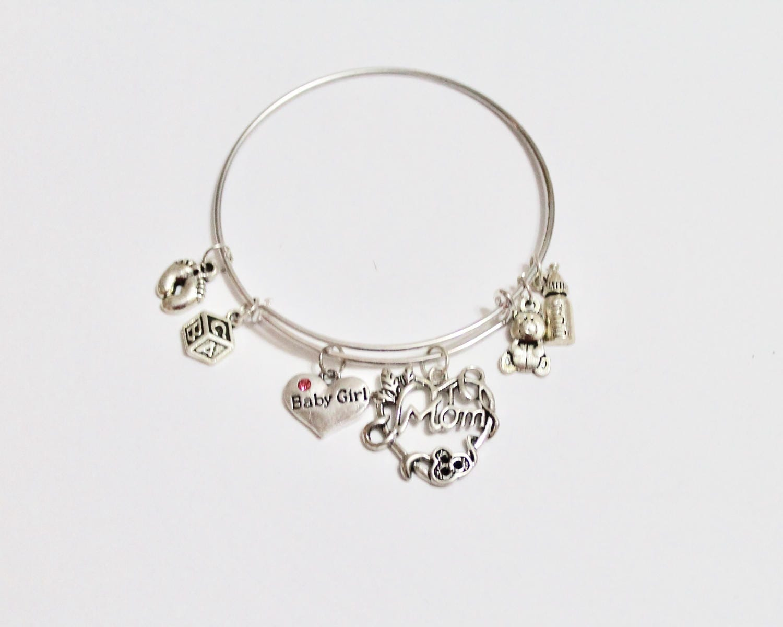 New Mom Expandable Charm Bangle Bracelet, Baby Boy Gift, Baby Girl ...