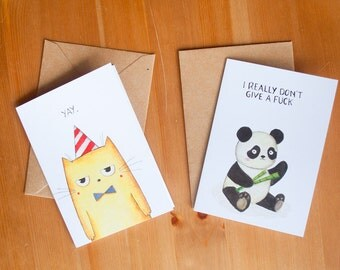 Funny  sarcastic 5 animals greeting card pack holiday gift- Set of 5 - Un-friendly mean nasty postcard edition