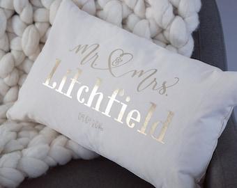 Mr & mrs wedding day / anniversary cushion