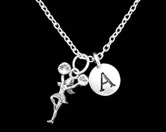 Cheerleader Necklace, Cheer Initial Necklace, Cheerleading Squad Necklace, Cheerleader Gift, Sports Gift Necklace