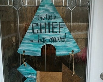 Baby door hanger, teepee door hanger, baby, hospital door decor