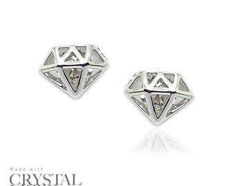 DIAMOND SHAPE Swarovski Elements Crystal 18-KRGP White Gold Plated Stud Earrings