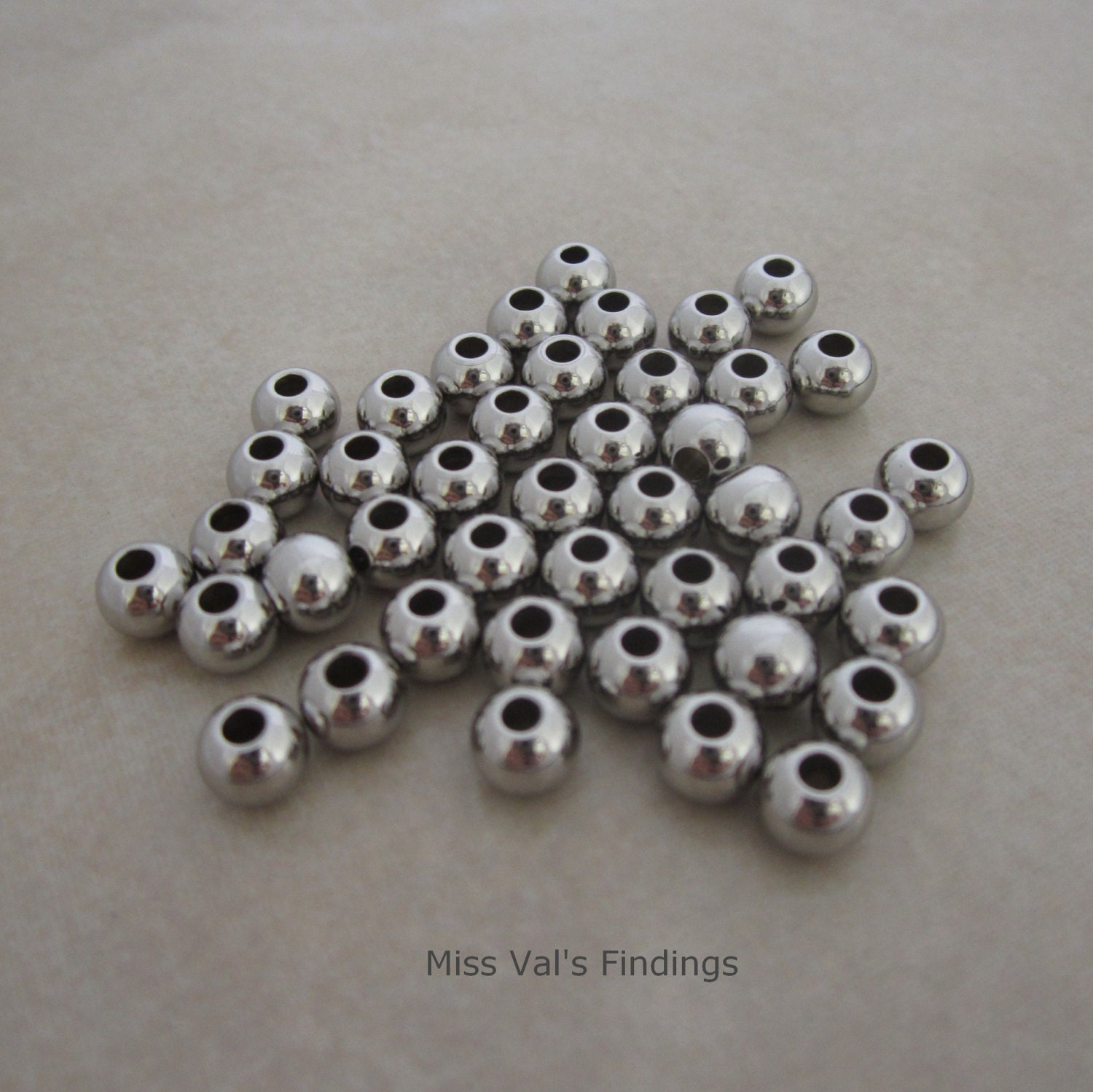 100 Stainless Steel Beads 6mm Round Seamless From
