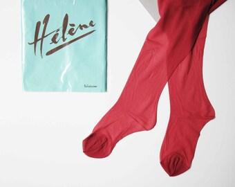 Red Pantyhose Stockings Lingerie , Vintage Stockings New, NOS, Hosiery Stockings, New Old Stock lingerie Mad Men