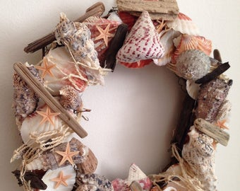 Shell Wreath Beach Wreath Seaside   Beachcomer Decor