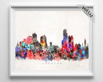 Caracas Skyline Print, Venezuela, Poster, Watercolor, Cityscape, City Painting, Dorm, Bedroom, Home, Decor, Christmas Gift