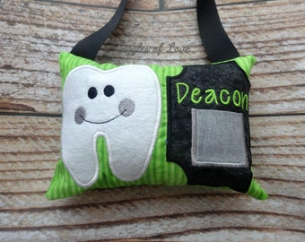 Personalized Tooth Fairy Pillow - Boy Tooth Pillow - Basic Tooth - Green and Black