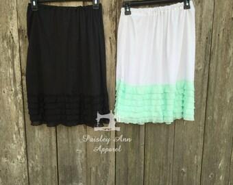 Plus size- skirt extender- dress extender- modest skirt- modest length- 24 inches-modest dress- ruffke skirt extender- lace skirt extender-