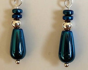 Haematite and sterling silver beads on sterling silver posts