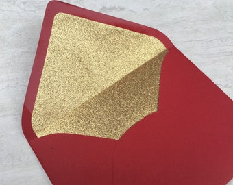 Red A7 5x7 Gold or Silver Glitter Lined Envelopes - Red Paper Source Envelopes