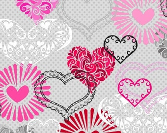 Valentine Heart Fabric, Gray, Red, Pink, Henry Glass Adore 1036 90, Valentine Day Fabric, Valentine Quilt Fabric, Heart Quilt Fabric, Cotton