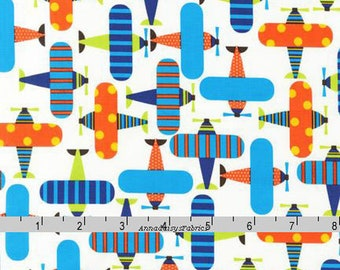 Airplane Fabric, Ann Kelle, Robert Kaufman 11272 195 Bright, Ready, Set, Go, Orange & Blue Airplane Quilt Fabric, Plane Fabric, Cotton