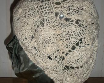 Ivory Grace & Lace Slouch Hat