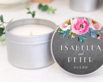 Custom soy candle wedding favours / bomboniere /  Thank you favor tins by Mahina