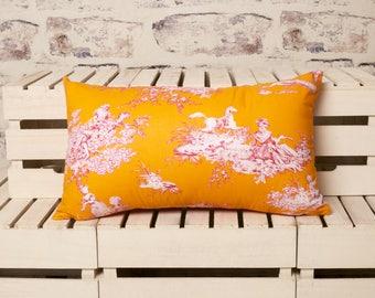 french toile de jouy orange cushion//toile de jouy cushion//toile de jouy pillow, orange cushion//orange pillow//toile de jouy