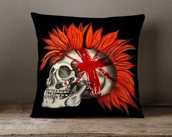 Skull - Throw Pillow - British - Sofa Cushion - Modern Art - House Warming gift - Dark Art - Home Decor - Gifts for him - TimberleeEU