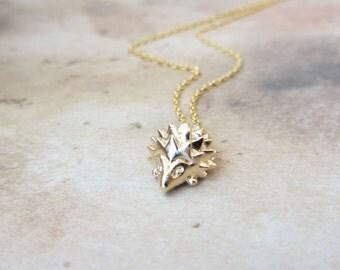 Gold hedgehog necklace, hedgehog charm necklace, gold charm necklace
