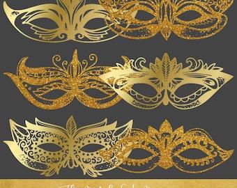 Carnival & Mardi Gras Masks Clipart Set - Golden Sparkle - INSTANT DOWNLOAD - 24 .PNG Images