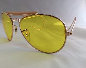 Custom Made to Order High Def Yellow Lenses Hipster Cop Aviator Sunglasses Cable Temples New Shooting Tennis Golf