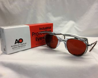 True Vintage AO Metal eyeglasses New Old Stock Safety Welding Glasses /Flip Up Lens /Box Cable Temples Custom