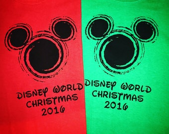 Red and Green Christmas Disney Shirt for your Family Vacaction Disney Vacation Tshirts Mickey Mouse Head Swirl