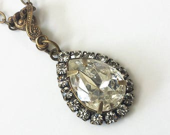 Swarovski Teardrop Necklace Art Deco Crystal Necklace Swarovski Crystal Necklace Rhinestone Pendant Necklace Crystal Rhinestone Necklace