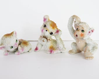 Kitsch vintage 60s ornaments trio - cat dog monkey - textured ceramic retro cuties