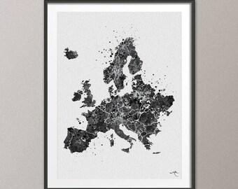 Map of Europe Black White Map Wall Art Watercolor Art Print Travel Art Wanderlust Wall Poster Wall Decor Wall Hanging Office Decor [NO 617]