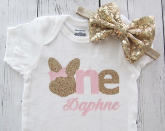 Bunny One First Birthday Onesie in pink and gold- baby girl, some bunny is turning one, bunny rabbit, pink gold birthday