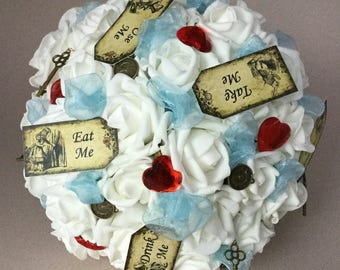 Alice in Wonderland Wedding Bouquet, White Rose bouquet,  Bride's white bouquet, Queen of Hearts wedding, Clocks, Lewis Carroll Story Theme